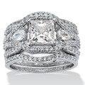 Виктория вик принцесса 7 мм топаз моделируется алмаз 10KT белый 3-в-1 участие обручальное кольцо установить Sz 5 - 11