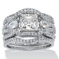 Victoria Wieck princesa cut 7 mm topázio simulado diamante 10KT White Gold Filled 3-em-1 de noivado casamento da faixa Set anel Sz 5 - 11