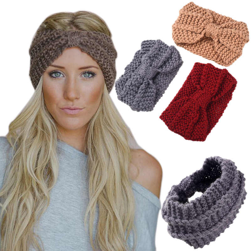 Las mujeres de invierno suave tejido de punto diadema mujer Lana arco  grueso cálido turbante Crochet 37962ba0206