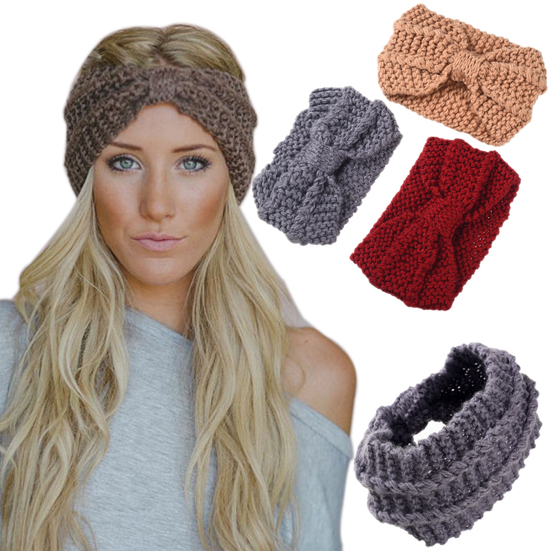 Girls Soft Knitted Fabric Headband Female Wool Winter