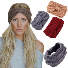 Winter Women Soft Knitted Fabric Headband Female Wool Bow Thick Warm Turban Crochet Wide Wrap Stretch Headdress Hair Accessories(China)