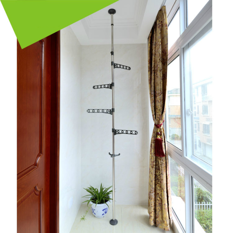 PP Steel Floor to Ceiling Coat Rack Laundry Tension Mounted Clothes Drying with Standing Type Clothing Hanger in Coat Racks from Furniture