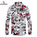 SHAN BAO brand clothing romantic floral shirt men autumn high quality comfortable cotton printing casual long-sleeved shirt