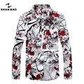 SHAN BAO marca romântico floral shirt dos homens de roupas outono algodão de alta qualidade confortável impressão ocasional longo-sleeved
