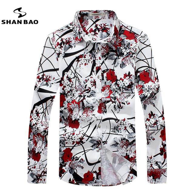 SHAN BAO marca ropa romántica floral camisa de los hombres de otoño de la alta calidad cómoda de algodón impresión de la camisa de manga larga ocasional