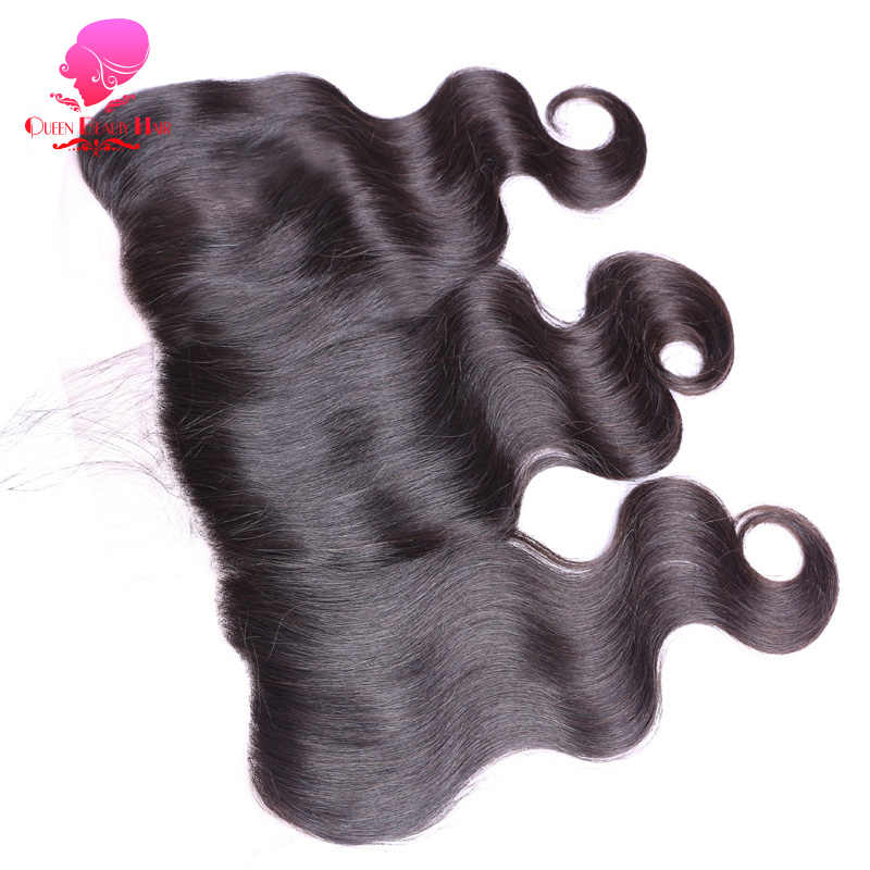 QUEEN BEAUTY HAIR Brazilian Remy Hair Ear To Ear Lace Frontal Closure 13*4 Body Wave Free Part Bleached Knots Baby Hair