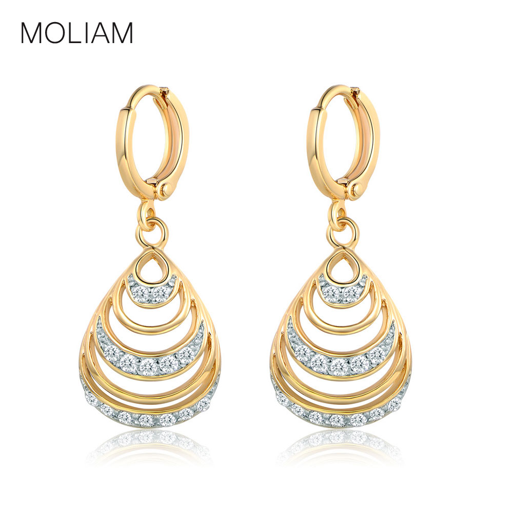 MOLIAM New Arrival Jewelry Dangle Earrings Fashion AAA Cubic Zirconia Crystal Hollow Drop Earing Brinco for Women Girl MLE224