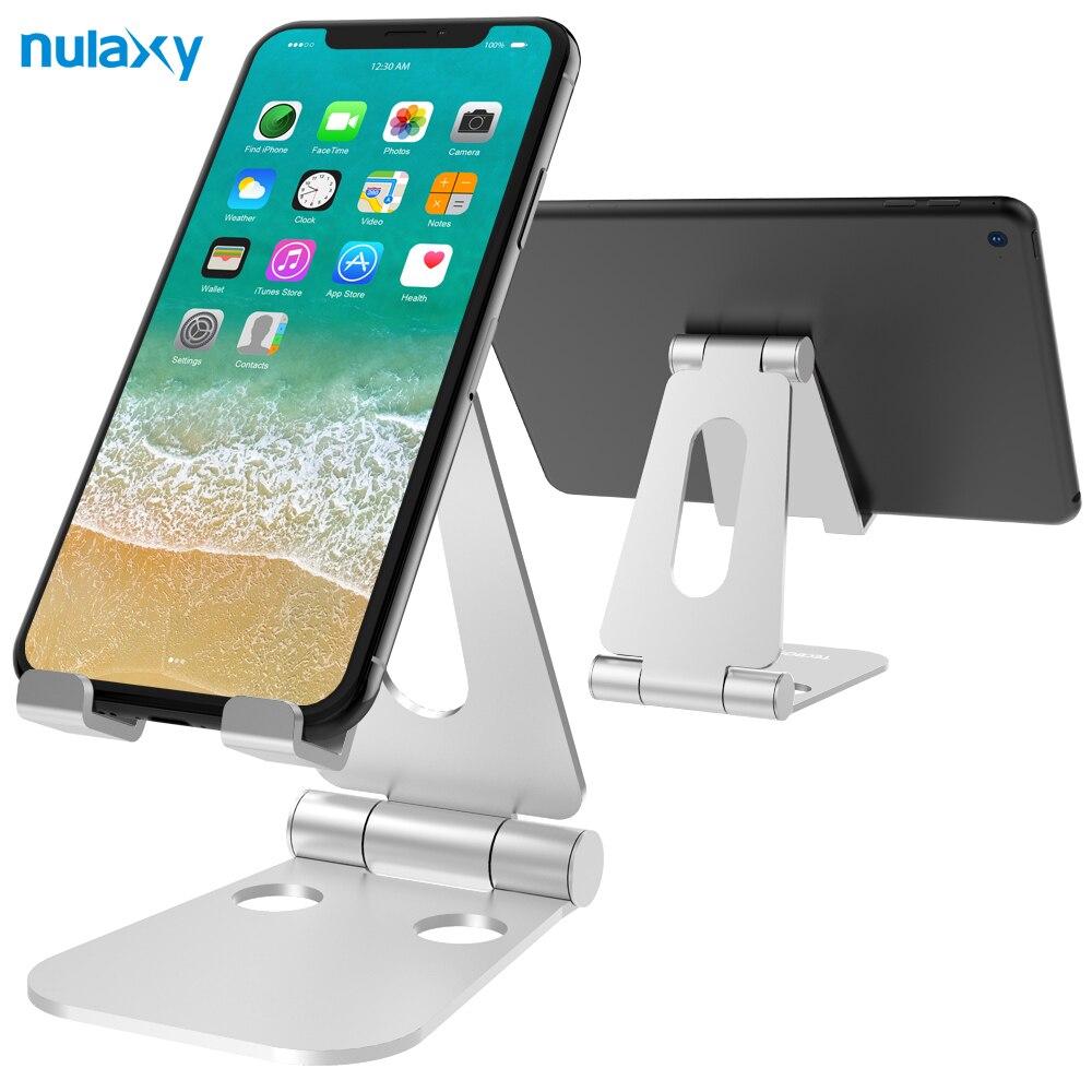 Nulaxy soporte de teléfono portátil para iPhone x aluminio ajustable soporte de escritorio del muelle para IPad Nintendo switch Soportes de Tablet