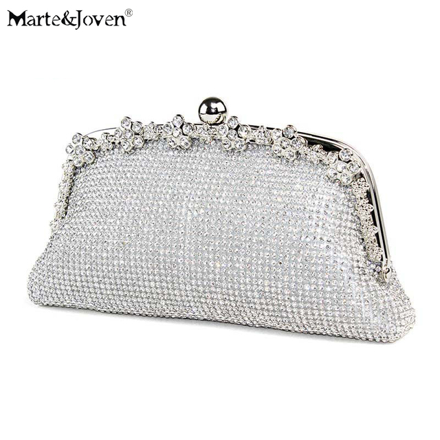 Marte Joven Luxury Crystal Women Silver Gold Evening Bag Clutch With Bling Formal Bridal