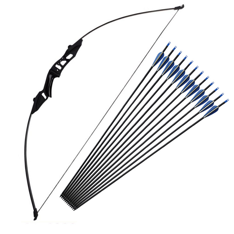 Professional Hunting Bow 51inch 40lbs And Mixed Carbon Arrows Recurve Bow Archery For Outdoor Hunting Shooting Practice Darts