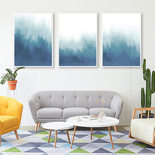 Blue Minimalist Abstract Landscape Illustration Canvas Art Painting Print Poster Picture Wall Living Room Home Decoration folk custom ancient modern minimalist new chinese ink flower landscape abstract canvas painting for living room wall art poster