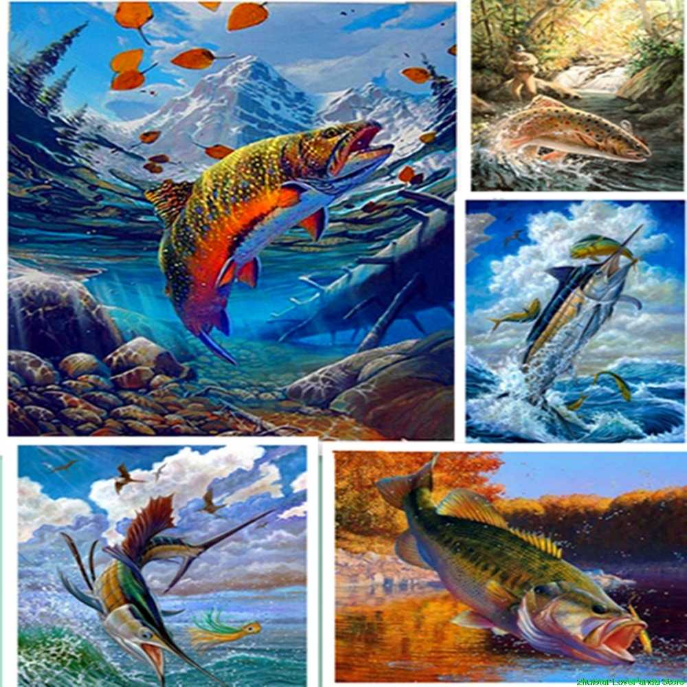 diamond painting The fish in the water Forest animals diamond embroidery sale diamond painting accessories rhinestones pictures