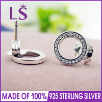 LS High Quality 100 Real 925 Sterling Silver Forever Pan CZ Stud Earrings Stud Earrings Fine