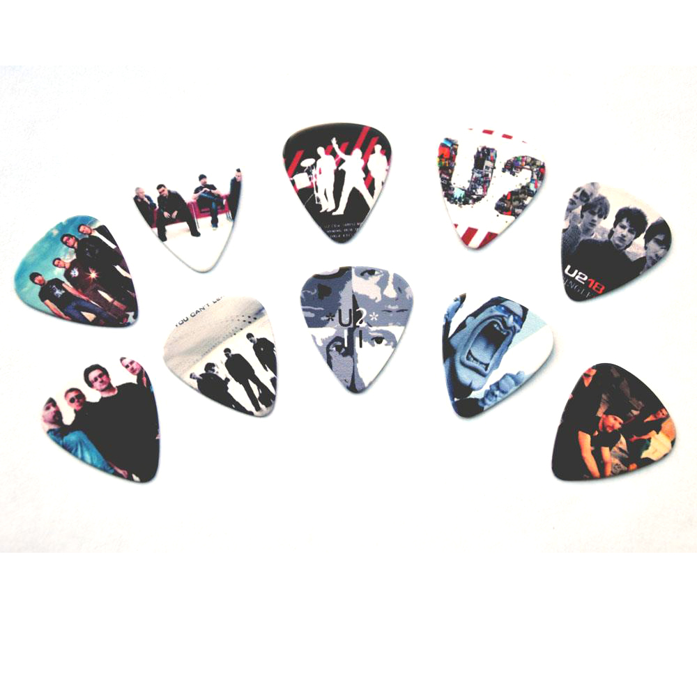 Lots of 10 Pcs Rock Band U2 Double sides printing Guitar Picks Plectrums Medium 0.71mm