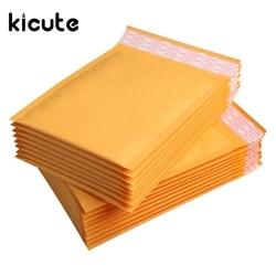 Kicute 50 pçs/lote qualidade superior amarelo kraft bolha mailers envelopes acolchoados envio saco auto selo material de escritório escola negócios