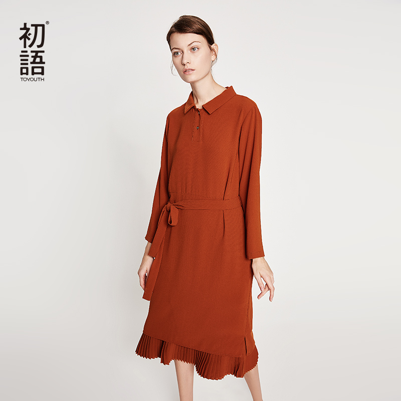 Toyouth Turn Down Collar Long Sleeve Women Dress 2019 Autumn Patchwork Pleated Midi Dresses Casual Solid