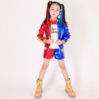 Movie Suicide Squad Harley Quinn Cosplay Costume For Kids Girls Halloween Carnival Dress Harley Quinn Jacket