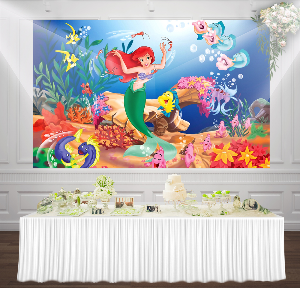 Little Mermaid Birthday Party girl princess backdrop photocall background cute cartoon Turquoise under the sea backdrops
