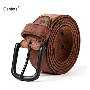 Image 1 - luxury genuine leather belt men  vintage pin buckle mens belt handmade jeans strap  cowhide  young army green color