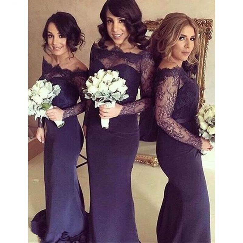 Long Sleeves Lace Top Navy Blue Mermaid Prom   Dress   Long Wedding Party   Dresses   Purple Cheap   Bridesmaid     Dresses   vestido madrinha