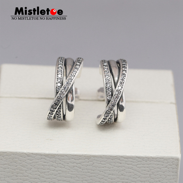 173a6a226 Authentic 925 Sterling Silver Entwined, Clear CZ Earrings Compatible with  European Jewelry