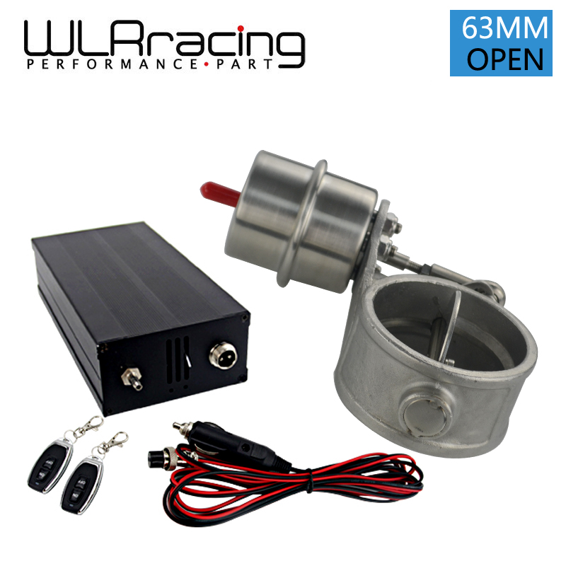 цена на WLRING- Exhaust Control Valve with Wireless Remote Controller Set With Vacuum Actuator Cutout 2.5 63mm Pipe OPEN Style with ROD