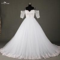 Trắng Tulle Váy Sweetheart Wedding Dress Nửa Tay Áo Tắt Shoulder Bridal Gowns RSW725