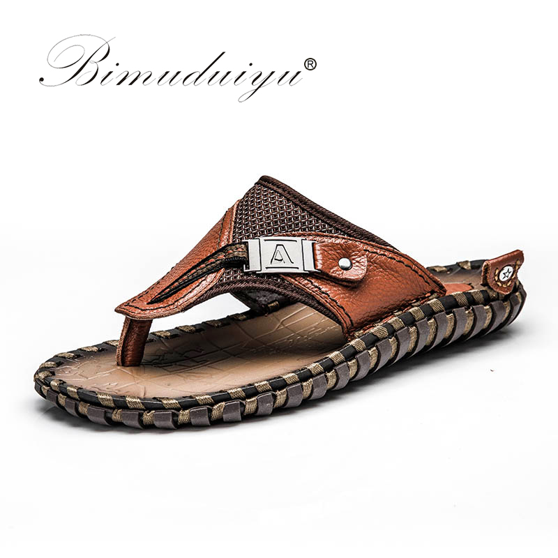 BIMUDUIYU Marque Nouvelle Arrivée Pantoufles de Haute Qualité À La Main Vache Véritable D'été En Cuir Chaussures Mode Hommes Plage Sandales Flip Flops