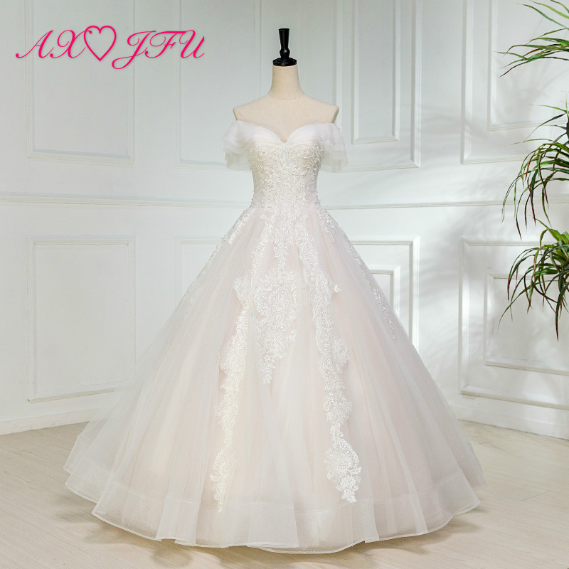 AXJFU luxury princess boat neck lace wedding dress flower lace beading crystal pearls wedding dress 100% real photo W9627