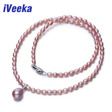 iVeeka Real Pearls Pendant Necklaces Women Fine Jewelry Water Drop Pendant White Freshwater Pearls Necklaces Wedding Accessories