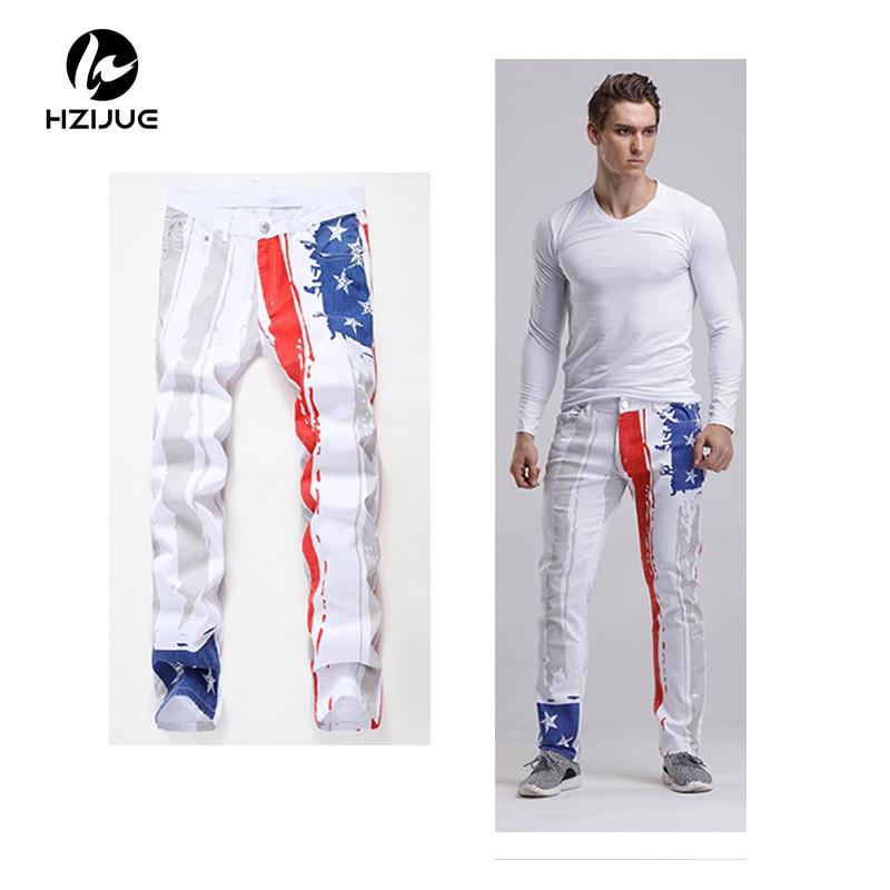 HZIJUE Mens Printed Jeans Plus Size Flag Printing Design White Jeans For Men Stars Striped Straight Ripped Jeans Male flag print zipper design jeans