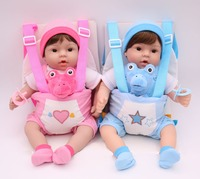 40cm Silicone Reborn babies Dolls with carrier sling handmade collectible bebe Dolls Kids Playmate bb reborn birthday gift