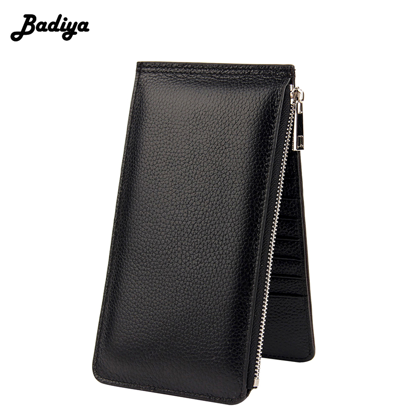RFID 20 Card Solts Wallet Womens Genuine Leather Bifold Long Purse Ladies Phone Case High Quality Thin Purse Female Carteira