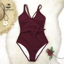 CUPSHE בורדו Bowknot מקשה אחת בגד ים נשים צלב מוצק Monokini 2020 ילדה סקסי בגדי ים