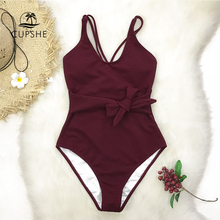 CUPSHE Burgundy Bowknot One Piece Swimsuit Women Cross Solid Monokini Bathing Suits 2020 Girl Sexy Swimwear