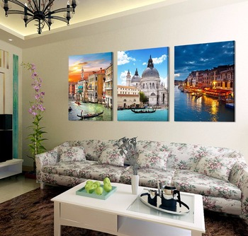 3 panels cotton canvas prints beautiful buildings for living room wall art