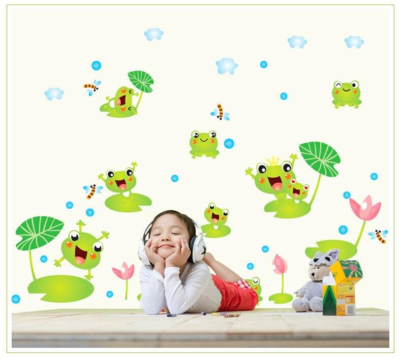 Stickers Salle De Bain Vinyl Stickers Bathroom Decoration Home Cartoon Frog  And Lotus Leaf Nursery Wall