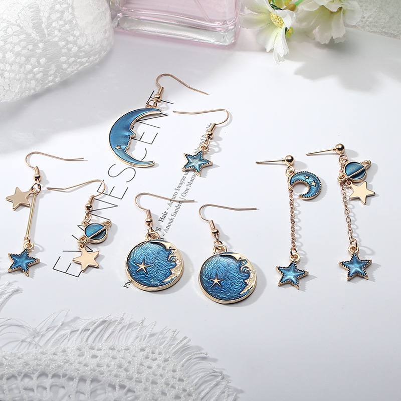 Hoop-Earrings Pendant Fashion Simple Star for Ladies Gift Asymmetric Hot-Sale Starry-Sky/long-Section