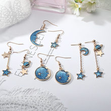 Hot Sale Fashion Hoop Earrings Lovely Simple Blue / The Moon / Starry Sky / Long Section Asymmetric Pendant For Ladies Gift(China)
