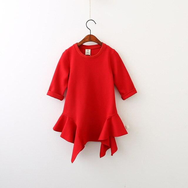 af76dfbdb52ec Automne nouveaux enfants de vêtements Irrégulière bord robe occasionnelle  d enfants en bas âge filles