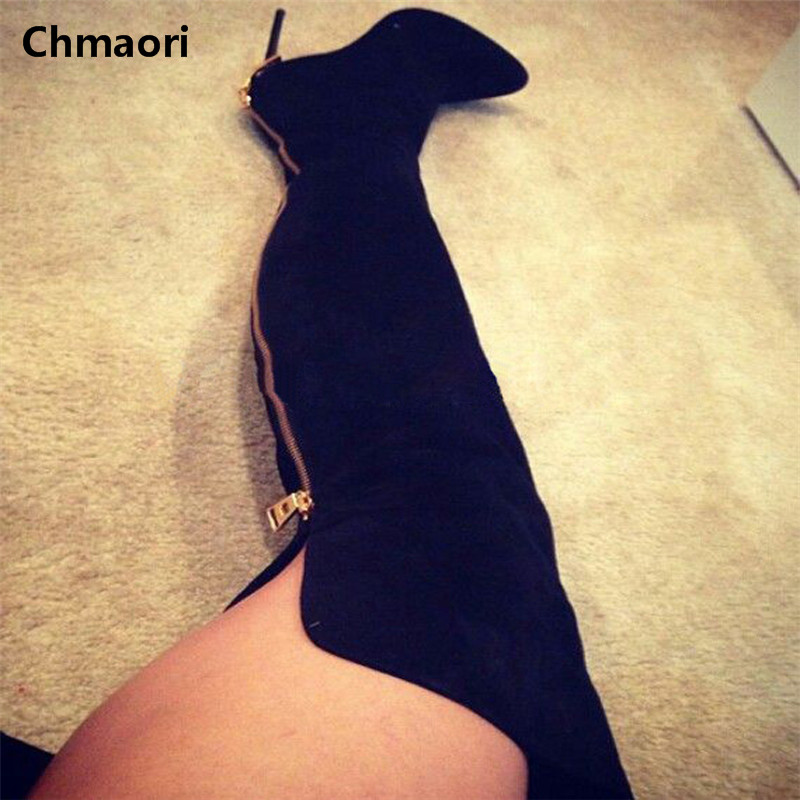 Brand New Pointed Toe Fashion Boots Over The Knee Zipper Strange High Heels Black Long Boots Women Sexy Style Thigh High Boots hot boots women sexy black thigh high boots peep toe soft leather back zip high heels over the knee boots gladiator sandal boots