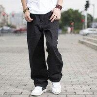 Мужские повседневные свободные черные джинсы в стиле хип хоп, мужские хлопковые мешковатые джинсы, Широкие джинсовые брюки, большие размер