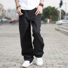 Size 46 44 42 40 Big Men Black Jeans Loose Fit Designer For Hip Hop Style Baggy Skateboard Pants Large