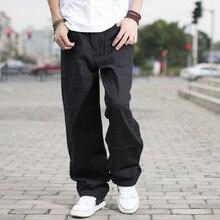 Size 46 44 42 40 Big Men Black Jeans Loose Fit Designer Jeans For Men Hip Hop Style Jeans Baggy Skateboard Pants Large Size