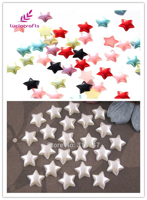 Lucia crafts 10mm Multi colors option Five-pointed Star ABS Imitation Pearls 48pcs 15011035