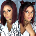 Ombre 1BT Burgundy  Lace Front Human Hair Wigs With Baby Hair Short  Bob Wig Human Hair Full Lace Wig Bob Cut For Black Women