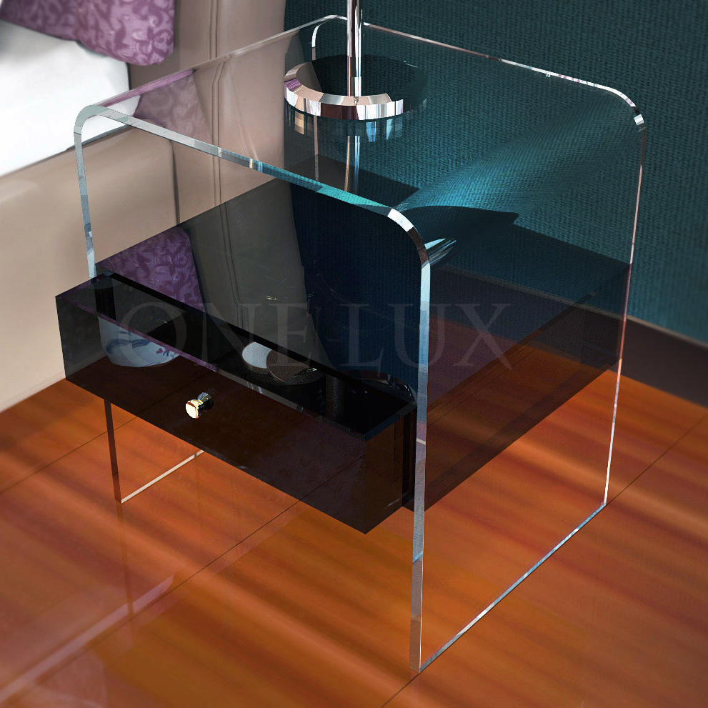 Waterfall Acrylic Drawer Nightstands,Lucite bedroom bedside table ONE LUX one lux plain and elegant clear transparent plexiglass acrylic bedside table with shelf 40w 30d 45h cm lucite nightstand