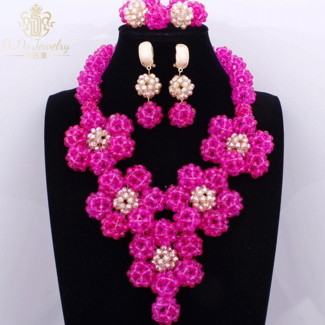 2017 Hot Pink And Gold Jewelry Sets Brand Accessories Flowers Fashion Necklace Earrings Bracelet Set For