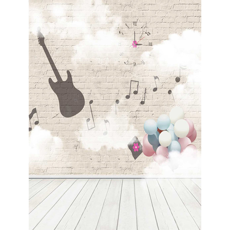 Music brick wall Photography Backdrops Computer Printing Thin Vinyl Background For Children Birthday Party Photo Studio  S-1880 brick wall baby background photo studio props vinyl 5x7ft or 3x5ft children window photography backdrops jiegq154