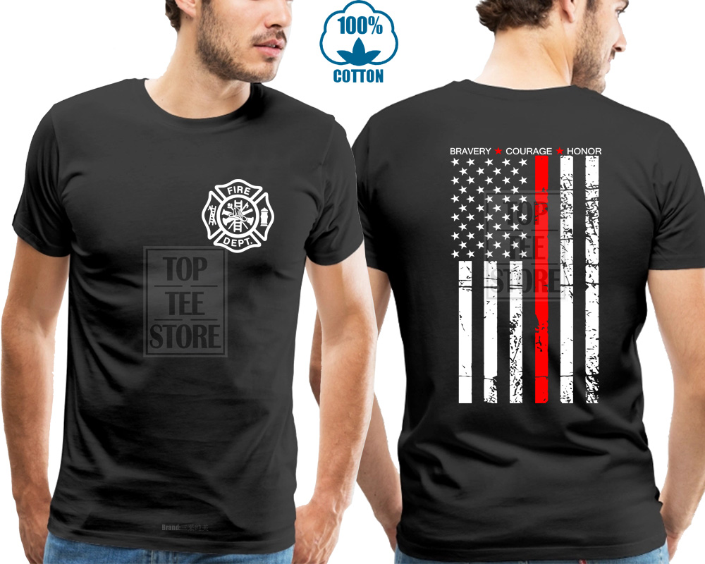 Thin Red Line Flag Firefighter Fire Department   T     Shirt   Men Fire Fighter Usa Hero Printing Casual   T     Shirt   Men'S Tees